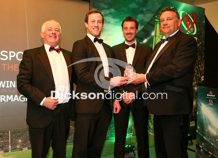 Thursday 10th May 2018 | Ulster Rugby Awards 2018<br /> <br /> Terry Jackson from Kukri presents the Kukri Club of the Year Award to Willie Boyd, Ali Birch and Chris Parker from City of Armagh RFC, during the 2018 Heineken Ulster Rugby Awards at La Mom Hotel, Belfast. Photo by John Dickson / DICKSONDIGITAL