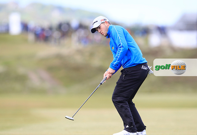 Bradley Neil (AM) on the 8th green during Round 1 of the 2015 Dubai Duty Free Irish Open, Royal County Down Golf Club, Newcastle Co Down, Northern Ireland. 28/05/2015<br /> Picture Thos Caffrey, www.golffile.ie