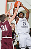 Aidan Igiehon #22 of Lawrence Woodmere Academy, right, drives to the hoop during a varsity boys basketball game against Berkeley Carroll (Brooklyn) at Lawrence Woodmere Academy on Friday, Dec. 9, 2016. LWA won 92-39.