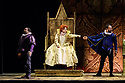 "London, UK. 27.02.2019. English Touring Opera presents Gioachini Rossini's ""Elizabeth I"", directed by James Conway, at the Hackney Empire. Lighting design is by Rory Beaton, with set and costume design by Frankie Bradshaw. The cast is: Mary Plazas (Elizabeth I), Luciano Botelho (Leicester), John-Colyn Gyeantey (Norfolk), Lucy Hall (Matilde), Joseph Doody (Guglielmo) and Emma Stannard (Enrico). Picture shows: John-Colyn Gyeantey (Norfolk), Mary Plazas (Elizabeth I), Luciano Botelho (Leicester). Photograph © Jane Hobson."
