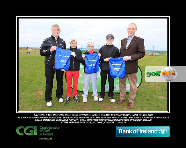 Laytown &amp; Bettystown Golf Club boys With Kate Wright CGI and Brendan Byrne Bank of Ireland.<br /> Junior golfers from across Leinster practicing their skills at the regional finals of the Dubai Duty Free Irish Open Skills Challenge supported by Bank of Ireland at the Heritage Golf Club, Killinard, Co Laois. 2/04/2016.<br /> Picture: Golffile | Fran Caffrey<br /> <br /> <br /> All photo usage must carry mandatory copyright credit (&copy; Golffile | Fran Caffrey)