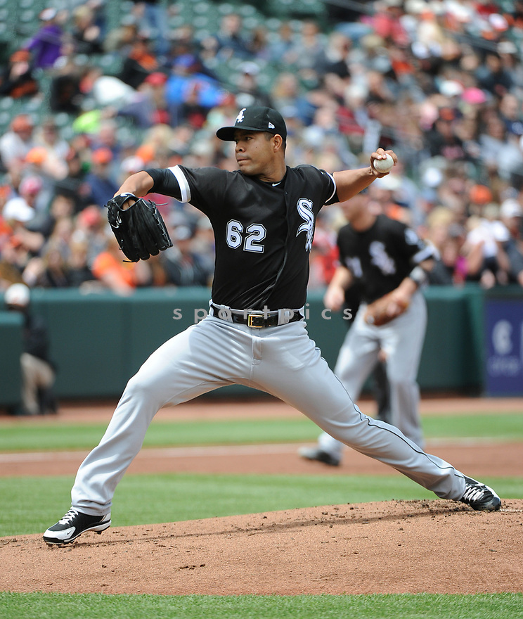 BALTIMORE, MD - May 7, 2017:  Jose Quintana #62 of the Chicago White Sox during a game against the Baltimore Orioles on May 7, 2017 at Oriole Park at Camden Yards in Baltimore, MD. The Orioles beat the White Sox 4-0.(Chris Bernacchi/ SportPics)