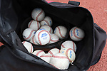 CHAPEL HILL, NC - FEBRUARY 21: A bag of Big East practice baseballs. The University of North Carolina Tar heels hosted the Saint John's University Red Storm on February 21, 2018, at Boshamer Stadium in Chapel Hill, NC in a Division I College Baseball game. St John's won the game 5-2.