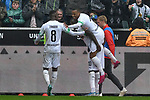 06.10.2019, Borussia-Park - Stadion, Moenchengladbach, GER, DFL, 1. BL, Borussia Moenchengladbach vs. FC Augsburg, DFL regulations prohibit any use of photographs as image sequences and/or quasi-video<br /> <br /> im Bild Alassane Plea (#14, Borussia Moenchengladbach) jubelt nach seinem Tor zum 4:0 mit Marcus Thuram  (#10, Borussia Moenchengladbach) und Denis Zakaria (#8, Borussia Moenchengladbach) <br /> <br /> Foto © nordphoto/Mauelshagen