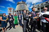 MP James Shaw speaks (right). Semi-automatic weapons ban and firearms advertising regulation petitions at Parliament in Wellington, New Zealand on Thursday, 21 March 2019. Photo: Dave Lintott / lintottphoto.co.nz