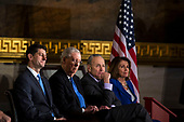 U.S. House Speaker Paul Ryan, a Republican from Wisconsin, Senate Majority Leader Mitch McConnell, a Republican from Kentucky, Senate Minority Leader Chuck Schumer, a Democrat from New York, and House Minority Leader Nancy Pelosi, a Democrat from California, attend a congressional Gold Medal ceremony for former Senator Bob Dole, in Washington D.C., U.S., on Wednesday, Jan. 17, 2018. Photographer: Al Drago/Bloomberg<br /> Credit: Al Drago / Pool via CNP