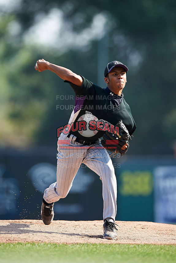 Taylor Blatch #91 of Jensen Beach High School in Stuart, Florida playing for the Colorado Rockies scout team during the East Coast Pro Showcase at Alliance Bank Stadium on August 4, 2012 in Syracuse, New York.  (Mike Janes/Four Seam Images)