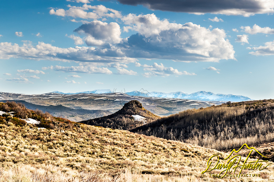 Textures and patterns of the rolling high country of the Caribou Targhee National Forest. Snowcapped mountains in the distance reminds you that you are in the Rocky Mountains