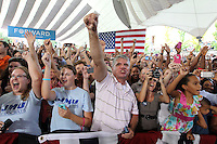 Supporters cheer for President Barack Obama during a campaign stop at the nTelos Wireless Pavilion in Charlottesville, VA.