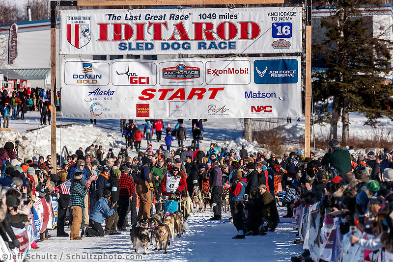 Kristin Bacon leaves the start line during the Re- Start of the 2016 Iditarod in Willow, Alaska.  March 06, 2016