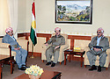 Iraq 2006 <br /> Mohiedin Mergasori, right,and Mirkhan  Mohamedamin, left, visiting Masoud Barzani in the memory of shahid Mohamedamin Mirkhan  <br /> Irak 2006 <br /> A droite, Mohiedin Mergasori et a gauche, Mirkhan  Mohamedamin recus par Masoud Barzani en memoire du martyr Mohamedamin Mirkhan