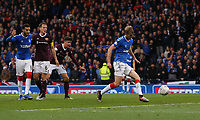 3rd November 2019; Hampden Park, Glasgow, Scotland; Scottish League Cup Football, Rangers versus Heart of Midlothian; Filip Helander of Rangers shoots and makes it 1-0 to Rangers in the 45th minute of the first half - Editorial Use