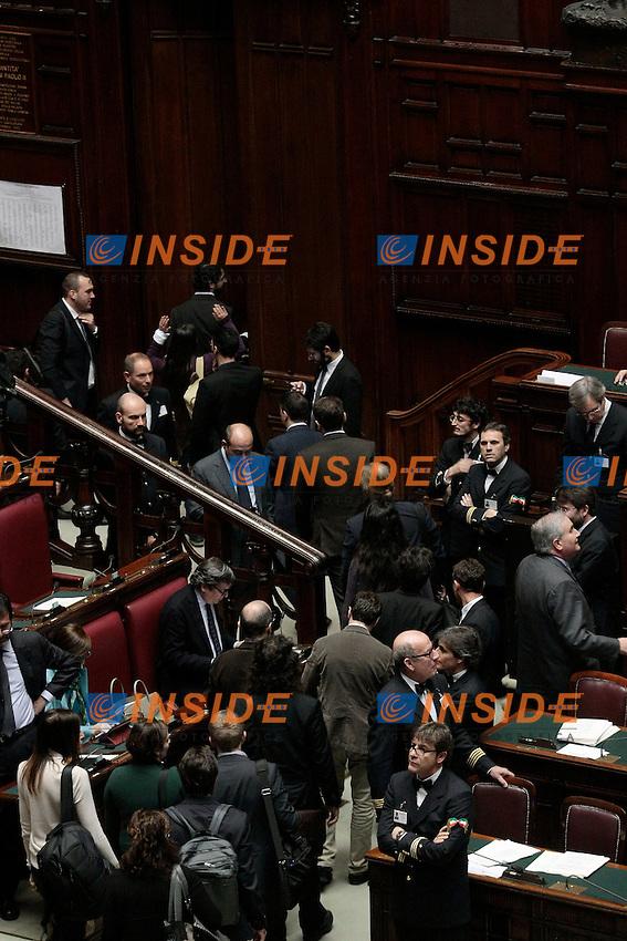 I grillini abbandonano l'Aula<br /> Roma 31-01-2014 Camera. Voto sulle pregiudiziali di costituzionalit&agrave;' della legge elettorale.<br /> Photo Samantha Zucchi Insidefoto