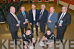 Launch : Pictured at the Launch of the North Kerry School Of Football Excellence 2012 at St Michaels College, Listowel on Thursday night last were in front Jack foley & Darragh Sheehy from Ballydonoghue. Back : Mike Mcacrthy, Kerry County Boartd Coachiing Officer, John Dillon, Games Development Administrator, North Kerry, Jack O'Connor, Kerry Senior Football Team Manger,  Paddy Mulvihill, Irish Wire Products Ltd. , Sponsor, Liam Dennehy,North Kerry Board Chairman & Johnny Mulvihill, Principal, St. Michael's College.