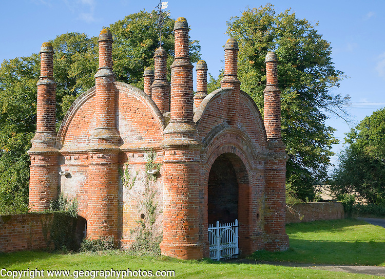Tudor red brick gatehouse at Ewarton Hall, Suffolk, England