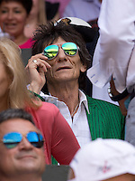 OIC - ENTSIMAGES.COM -  Ronnie Wood watches Andy Murray of Great Britain celebrates his win in the Gentlemen's Singles Final match against Novak Djokovic of Serbia of the Wimbledon Lawn Tennis Championships at the All England Lawn Tennis and Croquet Club 7th July 2013     Photo Ents Images/OIC 0203 174 1069