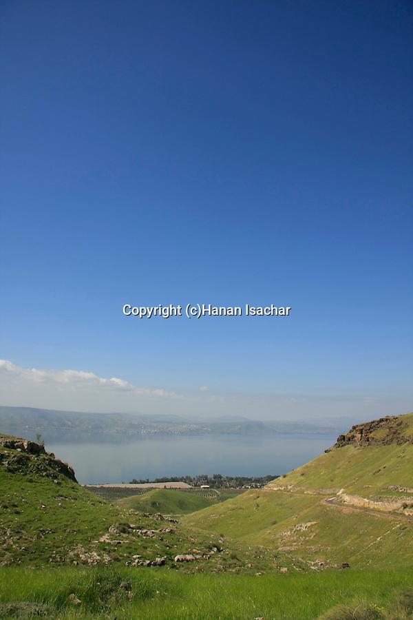 Golan Heights. Mount Susita (right) overlooking the Sea of Galilee