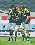 ***BETALBILD***  <br /> Solna 2015-05-31 Fotboll Allsvenskan AIK - Helsingborgs IF :  <br /> AIK:s Mohamed Bangura firar sitt 3-1 m&aring;l med Johan Blomberg och Haukur Hauksson under matchen mellan AIK och Helsingborgs IF <br /> (Foto: Kenta J&ouml;nsson) Nyckelord:  AIK Gnaget Friends Arena Allsvenskan Helsingborg HIF jubel gl&auml;dje lycka glad happy