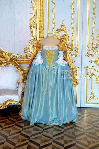 Pushkintown, Russia - August 14, 2009 -- A dress worn by Catherine the Great on display in Catherine's Palace in Pushkintown (also known as Zarskoye Selo or Tsar's village) in Pushkintown, Russia on Friday, August 14, 2009.  .Credit: Ron Sachs / CNP