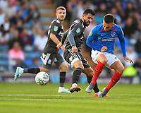 Ben Close of Portsmouth right tangles with Agustín Medina of Birmingham City during Portsmouth vs Birmingham City, Caraboa Cup Football at Fratton Park on 6th August 2019