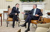 United States President Barack Obama, right, shakes hands with Prime Minister Matteo Renzi of Italy, left, as he holds a bilateral meeting in the Oval Office of the White House on April 17, 2015 in Washington, DC. This is PM Renzi's first official visit to the Capital as Italian prime minister.<br /> Credit: Olivier Douliery / Pool via CNP
