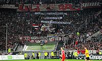 4. November 2011: Duesseldorf, Esprit-Arena: Fussball 2. Bundesliga, 14. Spieltag: Fortuna Duesseldorf - SG Dynamo Dresden: Duesseldorfs Fans solidarisieren sich mit den Dresdner Ultras: Task Force Luegenpresse, Scheiss DFB, Weiter Zuenden! Ultras!.