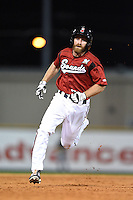 Nashville Sounds outfielder Kevin Mattison (2) runs the bases during the second game of a double header against the Omaha Storm Chasers on May 21, 2014 at Herschel Greer Stadium in Nashville, Tennessee.  Nashville defeated Omaha 13-4.  (Mike Janes/Four Seam Images)