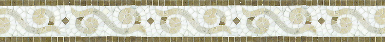 "4 1/2"" Alexander border, a hand-cut stone mosaic, shown in polished Calacatta Tia, honed Gascogne Blue, Jura Grey, Jura Beige, and Montevideo."
