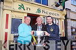 Richard Houlihan Pat Buckley, Micheal Collins,  with the Bishop Moynihan Cup on Monday at An Shebeen after Austin Stacks won the County Final on Sunday
