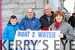 Jordan and Tom O'Connor Cordal, Tom Moore and Martina Flynn Castleisland at the water protest in Castleisland on Saturday