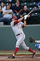 Stephen Piscotty #25 of the Stanford Cardinal bats against the UCLA Bruins at Jackie Robinson Stadium on April 27, 2012 in Los Angeles,California. Stanford defeated UCLA 7-2.(Larry Goren/Four Seam Images)