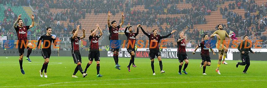 Esultanza giocatori Milan a fine gara. Celebration<br /> Milano 30-10-2016 Stadio Giuseppe Meazza - Football Calcio Serie A Milan - Pescara. Foto Giuseppe Celeste / Insidefoto