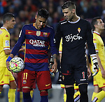 23.04.2016 Barcelona. Liga BBVA day 35. Picture show Neymar and Cuellar before takes penalty during game between FC Barcelona against Real Sporting at Camp nou