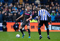 Leeds United's Kalvin Phillips (centre) competing with Sheffield Wednesday's Atdhe Nuhiu (right) <br /> <br /> Photographer Andrew Kearns/CameraSport<br /> <br /> The EFL Sky Bet Championship - Sheffield Wednesday v Leeds United - Saturday 26th October 2019 - Hillsborough - Sheffield<br /> <br /> World Copyright © 2019 CameraSport. All rights reserved. 43 Linden Ave. Countesthorpe. Leicester. England. LE8 5PG - Tel: +44 (0) 116 277 4147 - admin@camerasport.com - www.camerasport.com