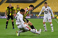 Western Sydney Wanderers FC&rsquo;s Josh Risdon and Wellington Phoenix&rsquo; Liberato Cacace in action during the A-League - Wellington Phoenix v Western Sydney Wanderers at Westpac Stadium, Wellington, New Zealand on Saturday 3 November  2018. <br /> Photo by Masanori Udagawa. <br /> www.photowellington.photoshelter.com