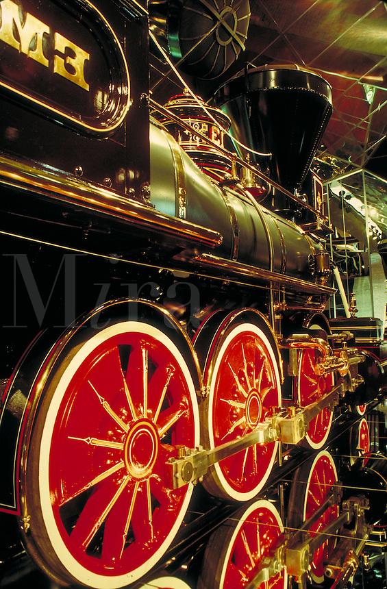 detail of locomotive at Railroad Museum in Sacramento, CA. Trains, engines. Sacramento California USA.