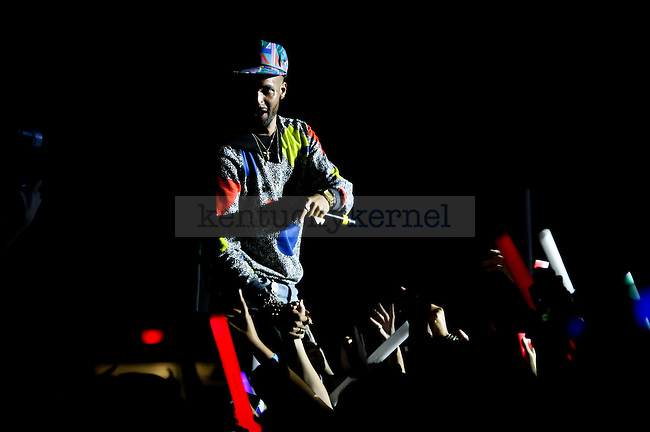 The host of the Verge Campus Tour gets the crowd fired up before Chance the Rapper Concert at Memorial Coliseum in Lexington, Ky., on Monday, October 13, 2014. Photo by Jonathan Krueger | Staff