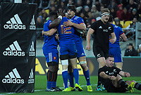 France's Dany Priso (left) and Kelian Galletier congratulate Geoffrey Doumayrou on his disallowed try during the Steinlager Series international rugby match between the New Zealand All Blacks and France at Westpac Stadium in Wellington, New Zealand on Saturday, 16 June 2018. Photo: Dave Lintott / lintottphoto.co.nz