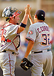 2 July 2005: Brian Schneider, catcher for the Washington Nationals, celebrates a victory after a game against the Chicago Cubs. The Nationals defeated the Cubs 4-2 in front of 40,488 at Wrigley Field in Chicago, IL. Mandatory Photo Credit: Ed Wolfstein