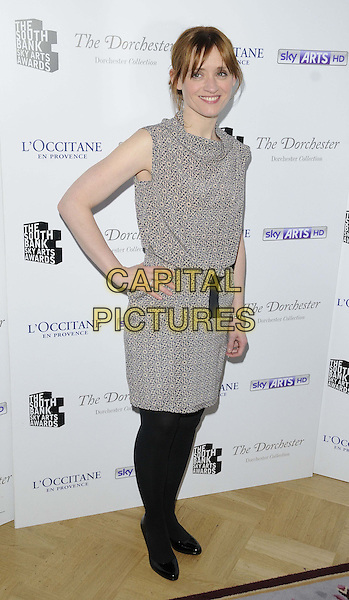Anne-Marie Duff.attended the South Bank Sky Arts Awards 2013, Dorchester Hotel, Park Lane,  London, England..March 12th, 2013.full length sleeveless dress black tights grey gray pattern hand on hip .CAP/CAN.©Can Nguyen/Capital Pictures.
