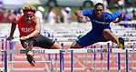 Cahokia hurdler Stephen Harris (right) races against Robert Williams of Springfield in the 110 meter hurdles at the Collinsville Invitational Boys Track & Field Meet on Saturday May 5, 2018. Tim Vizer | Special to STLhighschoolsports.com