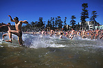 Swimmers take part in a  circuit course, from Manly Beach, out by Fairy Bower point and over the reef, around the point, along Shelley Beach, around the Cabbage Tree Bay and around the point back into the beach. It's a glorious journey through some of the most beautiful, bountiful sea in Sydney. Photo: Steve Christo
