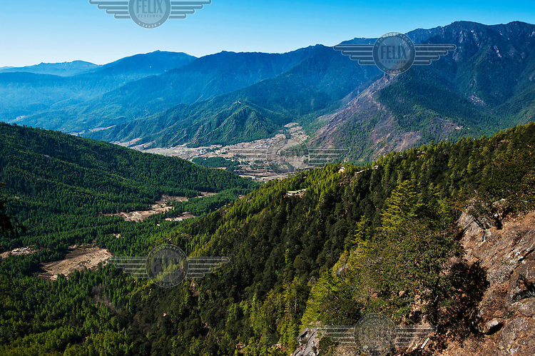 A view of the Paro Valley from the trail to the Tiger's Nest (Paro Taktshang).