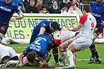biarritz. pais vasco. rugby<br /> rugby match during the rugby french league, 02-03-14<br /> En la imagen :<br /> puricelli (7) lesgourgues (9)<br /> photocall3000 / rme