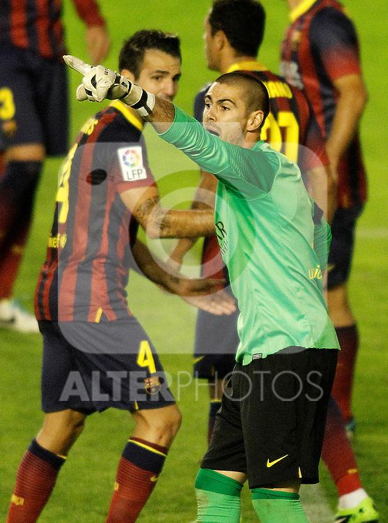 FC Barcelona's Victor Valdes during La Liga match.September 21,2013. (ALTERPHOTOS/Acero)