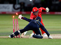 Keaton Jennings is stumped by Sam Billings during the T20 Quarter-Final game between Kent Spitfires and Lancashire Lightning at the St Lawrence ground, Canterbury, on Aug 23, 2018.