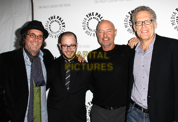 JACK BENDER, DAMON LINDELOF, TERRY O'QUINN & CARLTON CUSE  .27th Annual PaleyFest Presents the television show 'Lost' held At The Saban Theatre, Beverly Hills, California, USA, 27th February 2010..arrivals half length black glasses tie suit jacket shirt jumper sweater hat .CAP/ADM/KB.©Kevan Brooks/Admedia/Capital Pictures