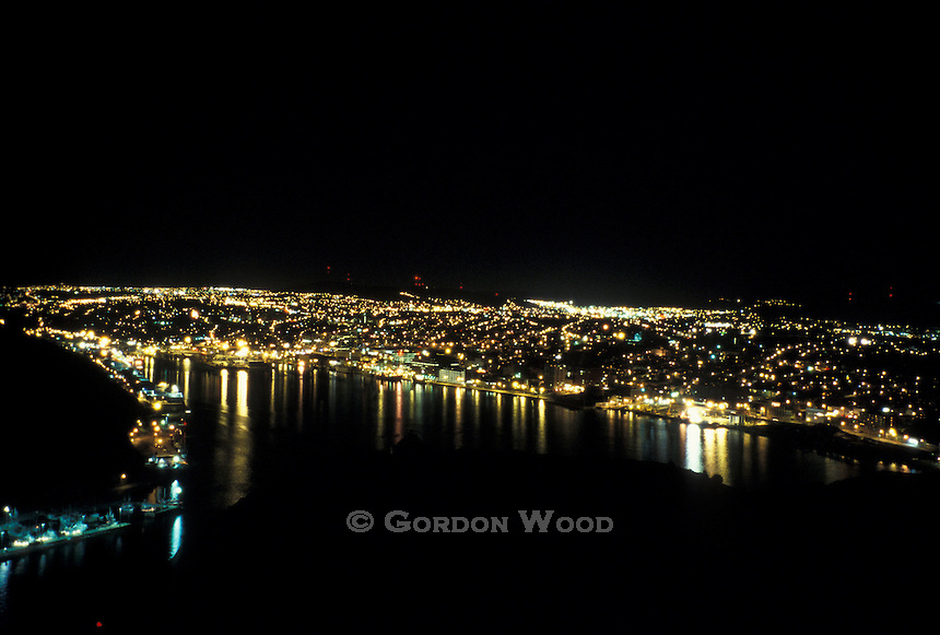 St. John's, Newfoundland Harbour at Night from Signal Hill