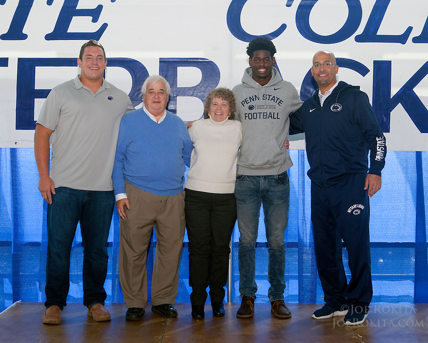 State College, PA - 10/26/2016:  Week #8 State College Quarterback Club luncheon at Mount Nittany Club at Beaver Stadium in University Park, PA.<br /> <br /> This week's opponent: Purdue<br /> <br /> Players: Brendan Mahon, Cam Brown<br /> <br /> Coach: James Franklin<br /> <br /> Sponsor: The Tavern Restaurant<br /> <br /> Photos by Joe Rokita / JoeRokita.com