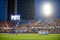 VALENCIA, SPAIN - SEPTEMBER 11: Silence minute during BBVA LEAGUE match between Levante U.D. And Sevilla C.F. at Ciudad de Valencia Stadium on September 11, 2015 in Valencia, Spain